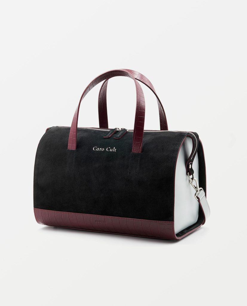 Soofre Suede Leather Bowler Bag Color Black Burgundy