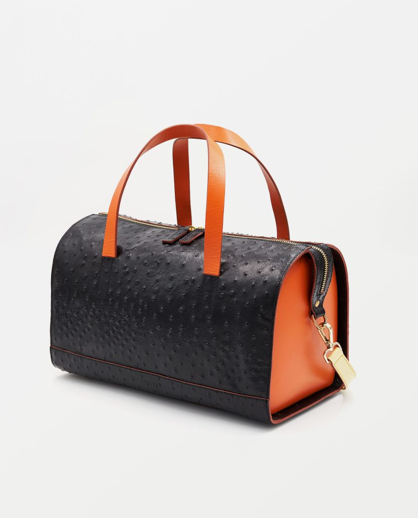 Soofre Ostrich Embossed Leather Bowler Bag Color Black Orange