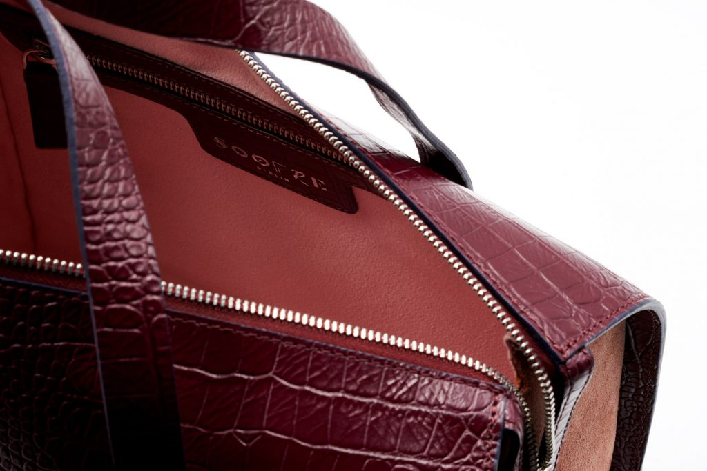Soofre Crocodile Embossed Leather Bowler Bag in Burgundy Rose Color