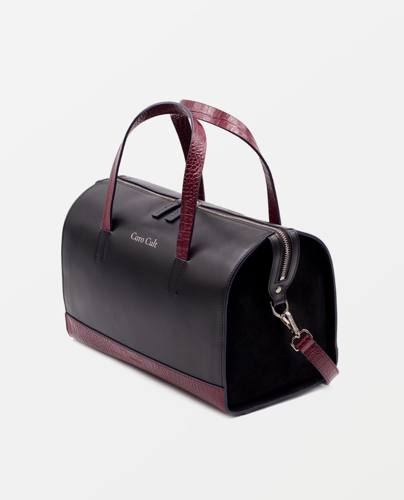 Soofre Smooth Leather Bucket Bag Color Navy Burgundy