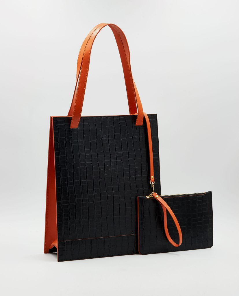 Soofre Crocodile Embossed Leather Shopper Bag Color Black Orange