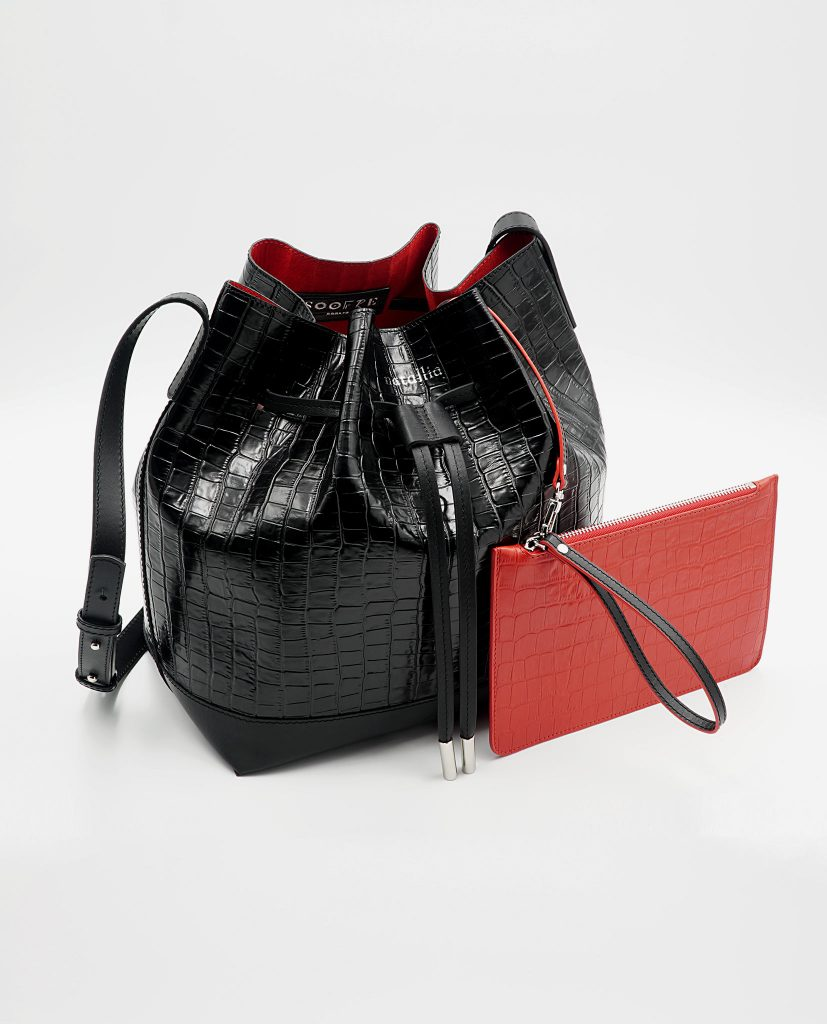 Soofre Crocodile Embossed Leather Bucket Bag Color Black Red