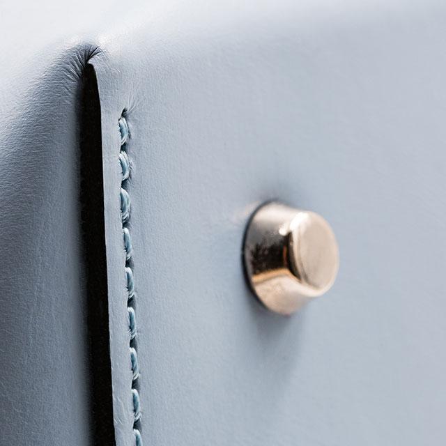 Soofre Ostrich Embossed Leather Bucket Bag Color black pale blue