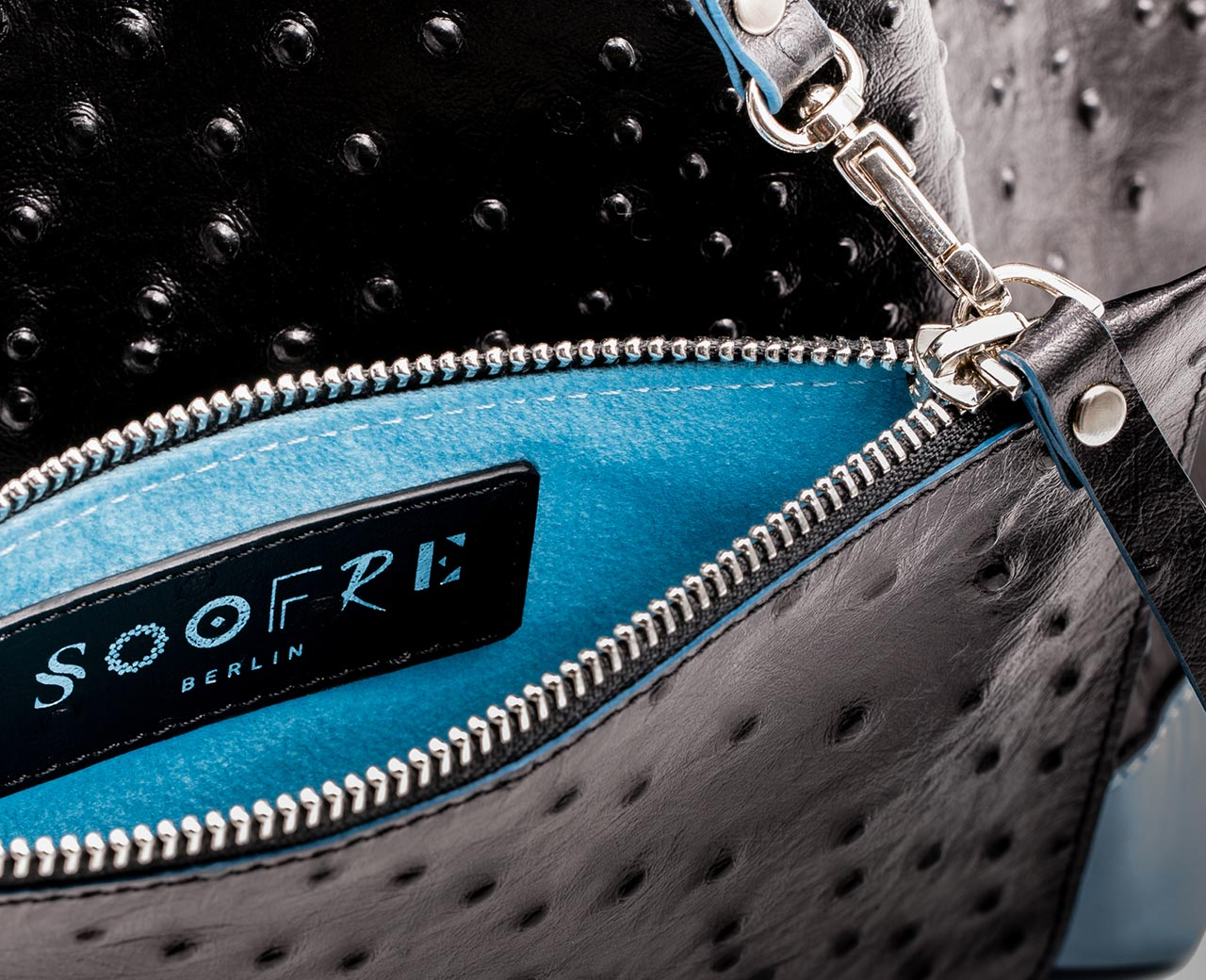 Soofre Ostrich Embossed Leather Bucket Bag Color black pale blue