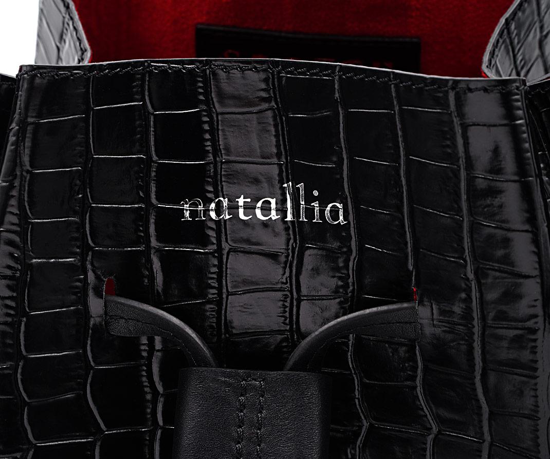Soofre Crocodile Embossed Leather Bucket Bag Color Black Red