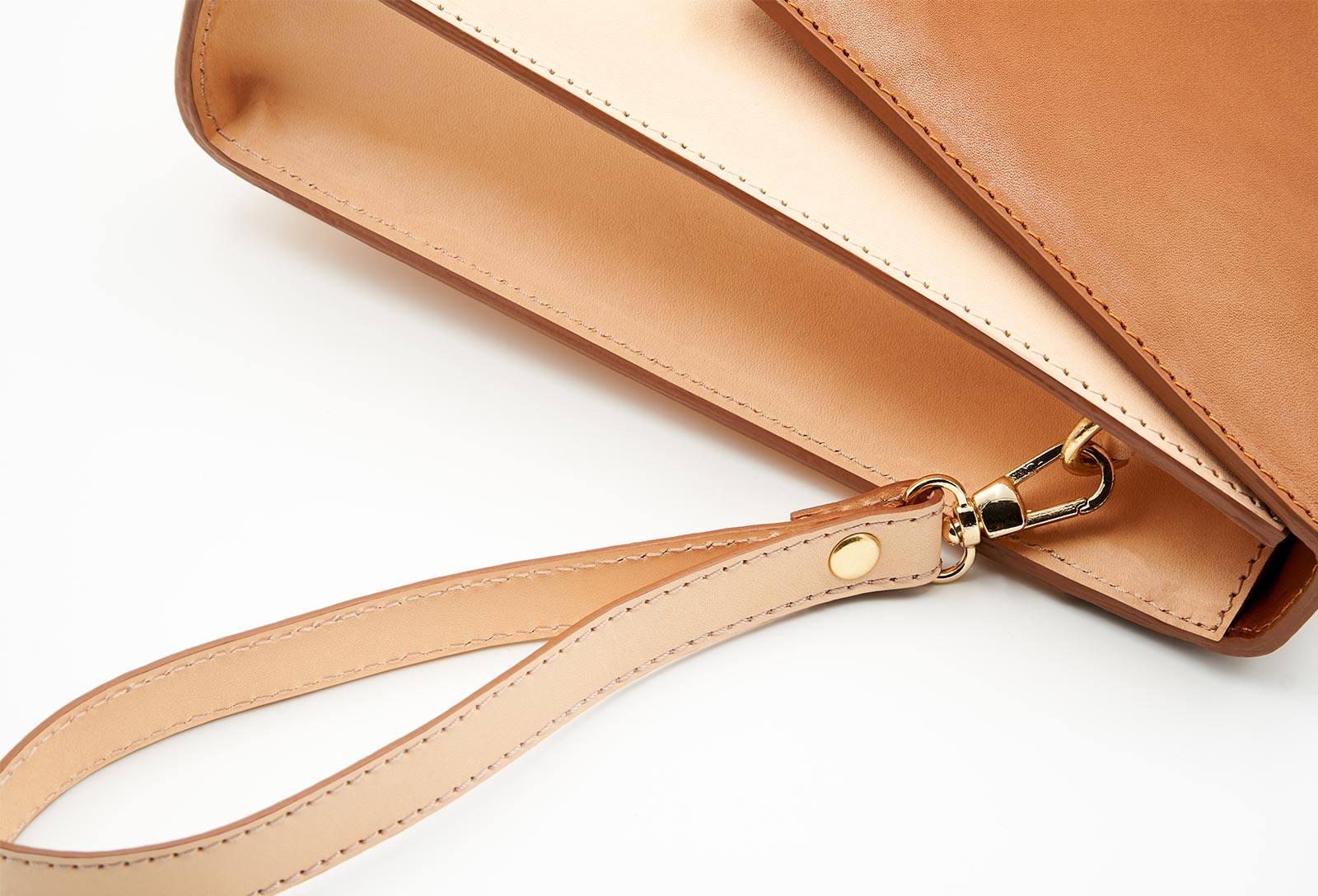 Soofre Vegetable Tanned Leather Clutch Color tan natural