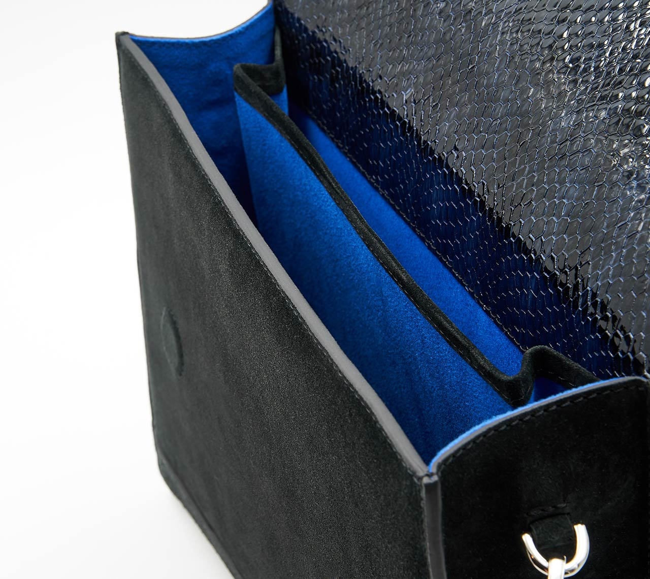 Soofre Suede Leather Clutch black midnight blue Lining