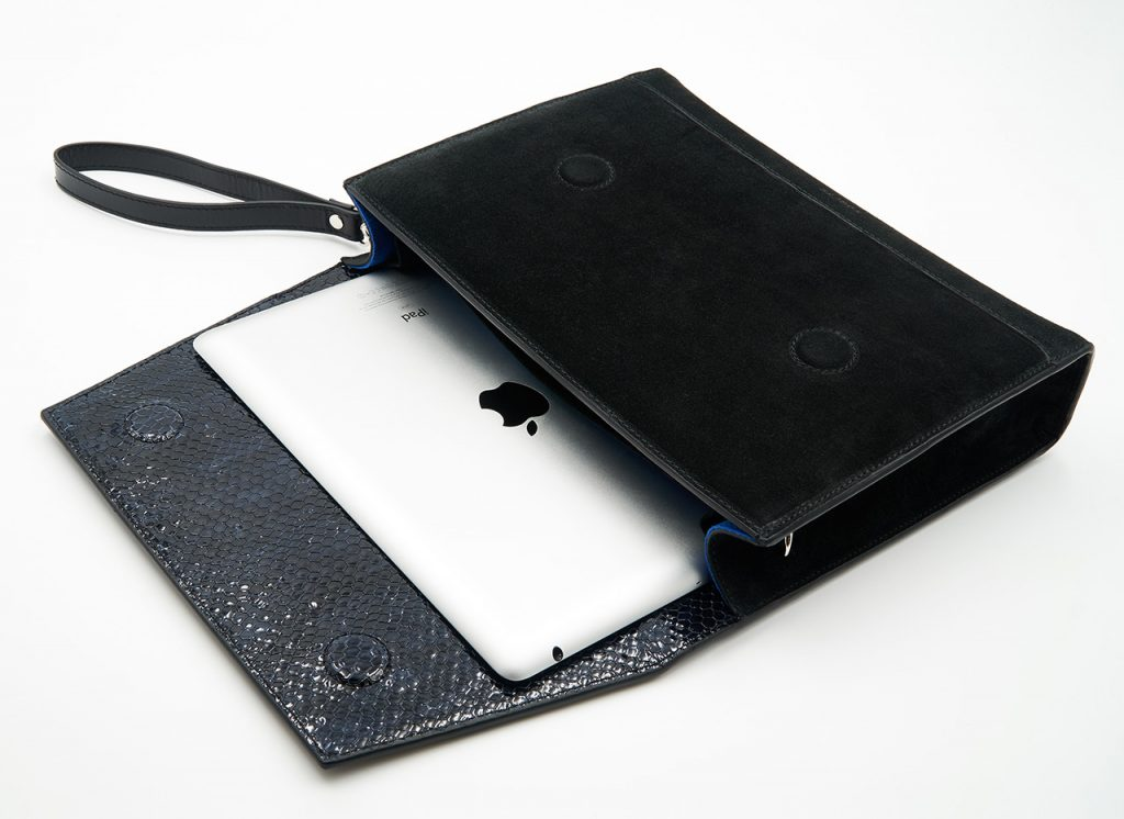 Soofre suede Leather Clutch black midnight blue iPad Pocket