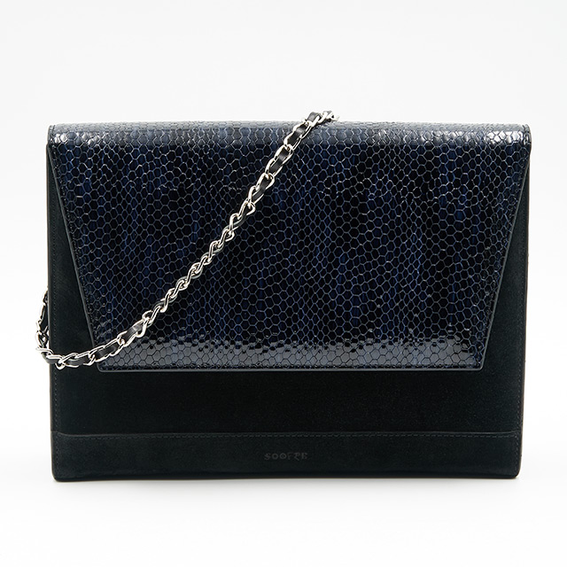Soofre Suede Leather Clutch Woven Chain