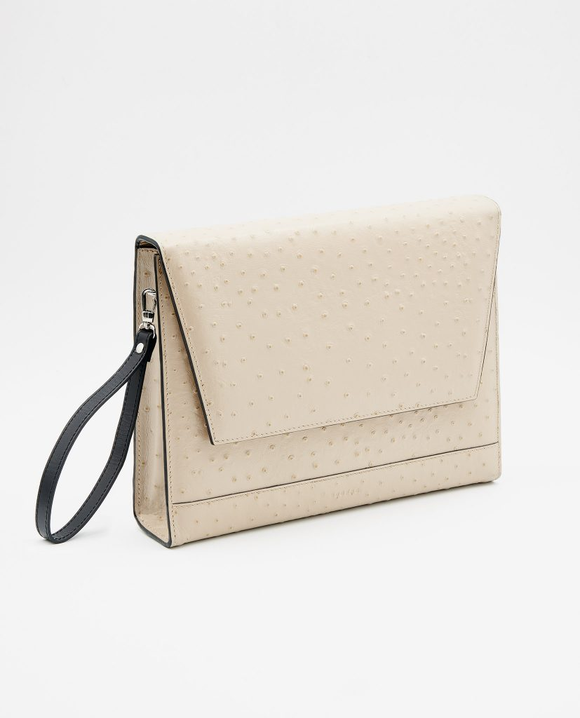 Soofre Ostrich Embossed Leather Clutch Color Beige