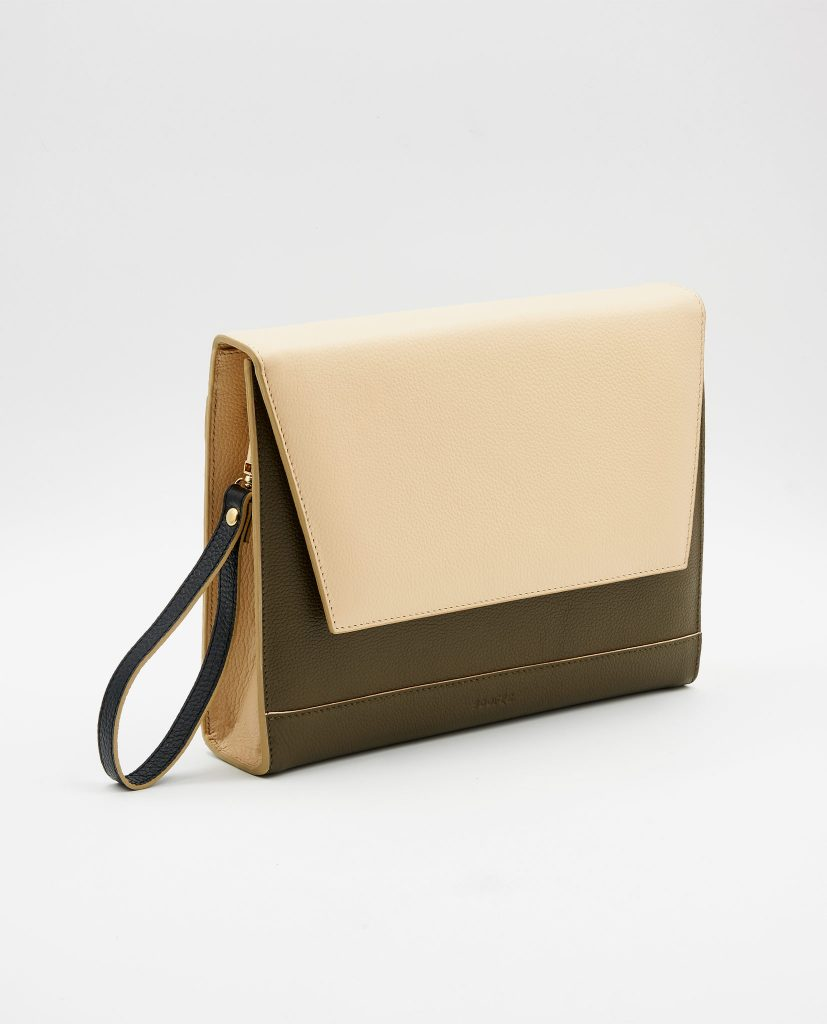 Soofre Grainy Leather Clutch khaki cream