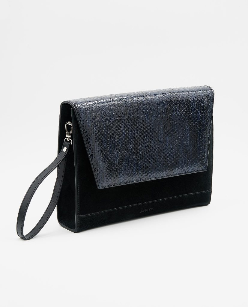 Soofre suede Leather Clutch black midnight blue