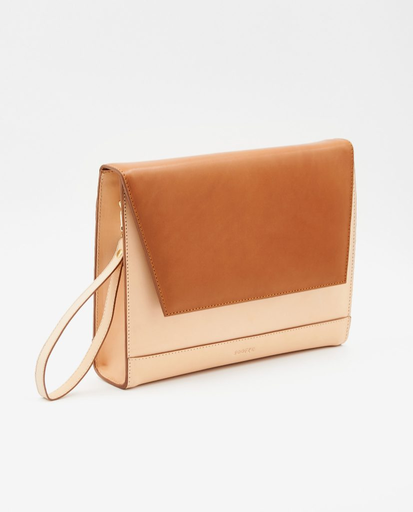 Soofre Vegetable Tanned Leather Clutch tan natural