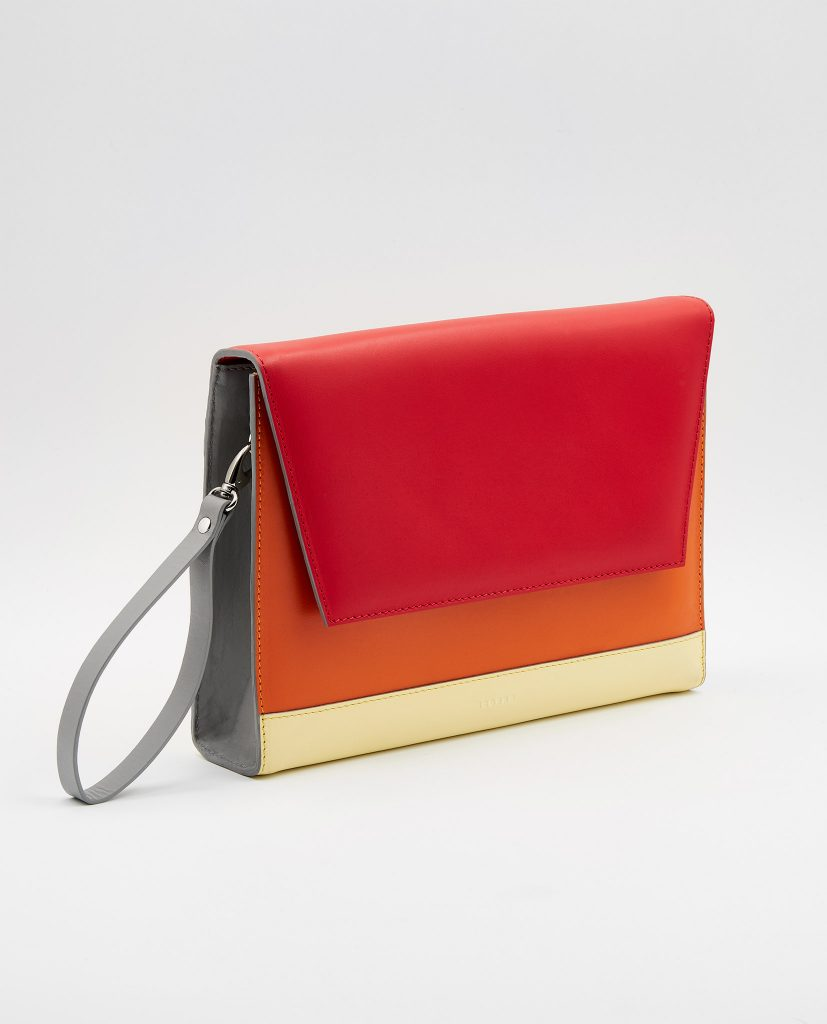Soofre Smooth Leather Clutch Color red orange light yellow