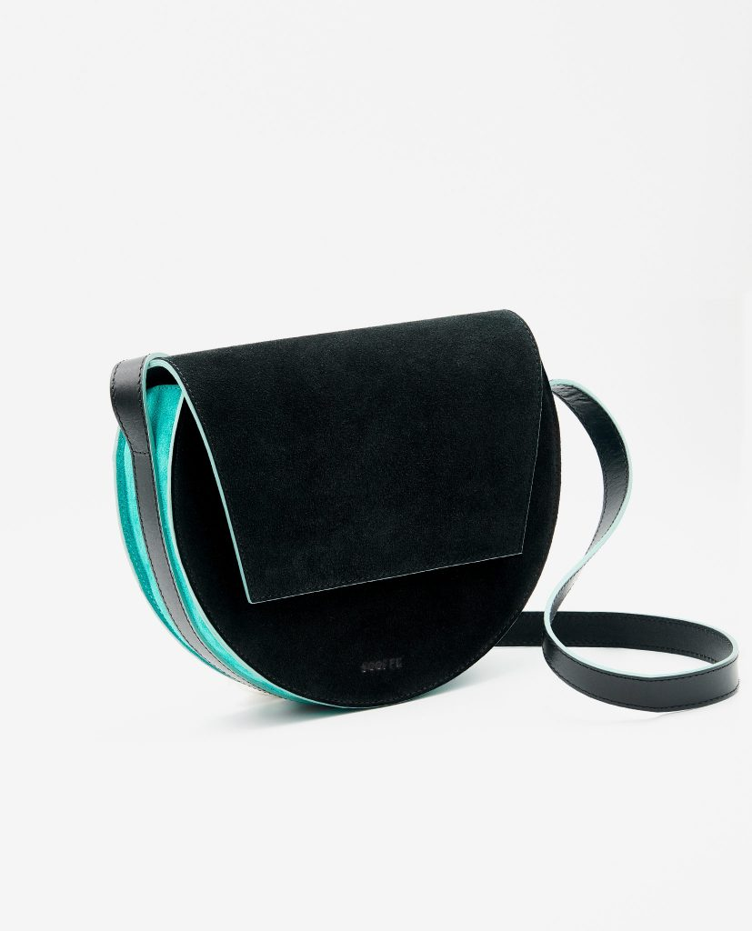 Soofre Suede Leather Crossbody Purse Color Black Tourqise