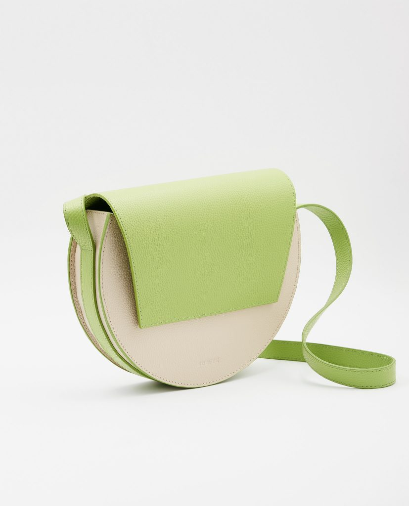Soofre Grainy Leather Crossbody Purse Color Cream Lime Green