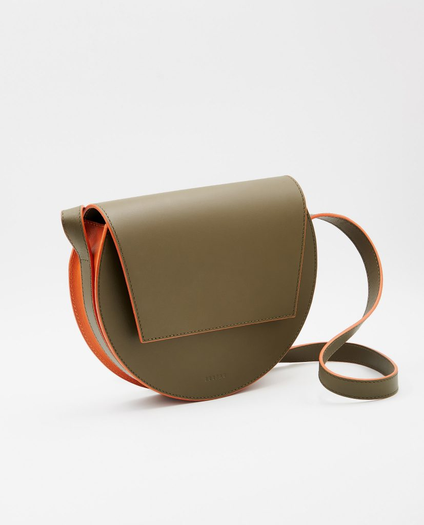 Soofre Smooth Leather Crossbody Purse Color Khaki Orange