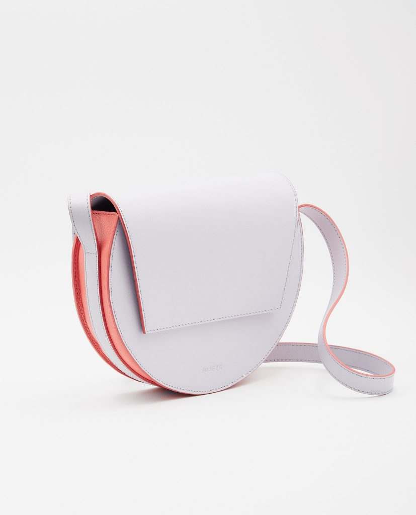 Soofre Smooth Leather Crossbody Purse Color Lilac Coral