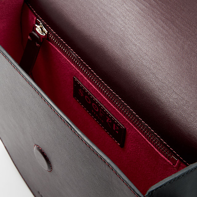 Soofre Smooth Leather Crossbody Purse Color Burgundy Black