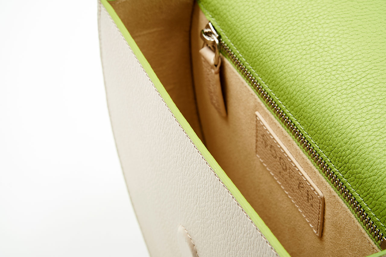 Soofre Grainy Leather Crossbody Purse Cream Lime Green