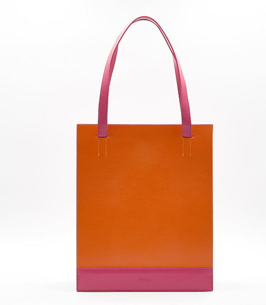 Soofre Grainy Leather Shopper Bag Color Orange Fuchsia