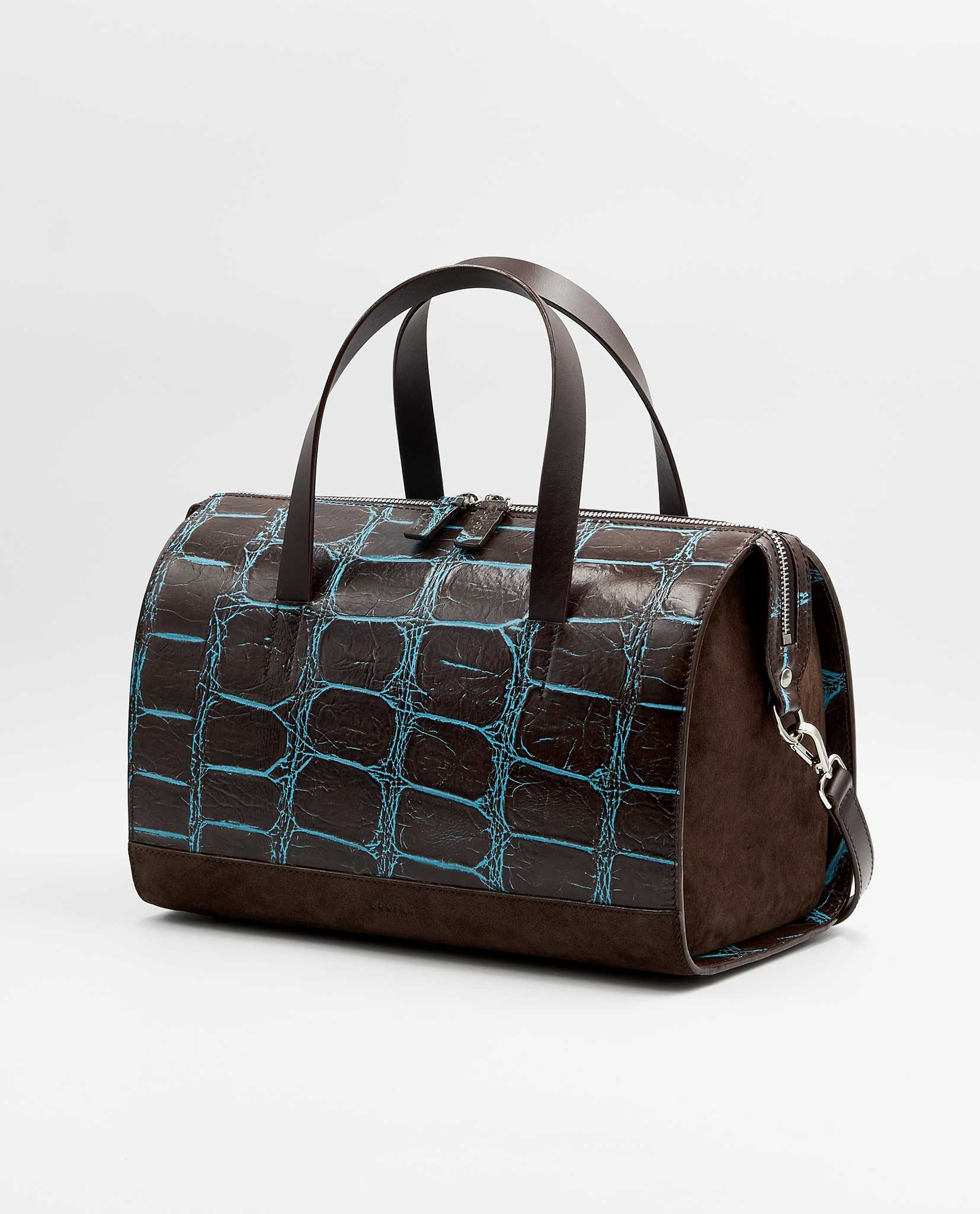 1042289fa9a6 Unique Bowler Bag CHARLIE – Croco Brown   Brown - SOOFRE