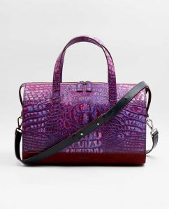 SOOFRE-Berlin-unique-Bowler-Bag-croco-purple-lilac-burgundy-FRONT