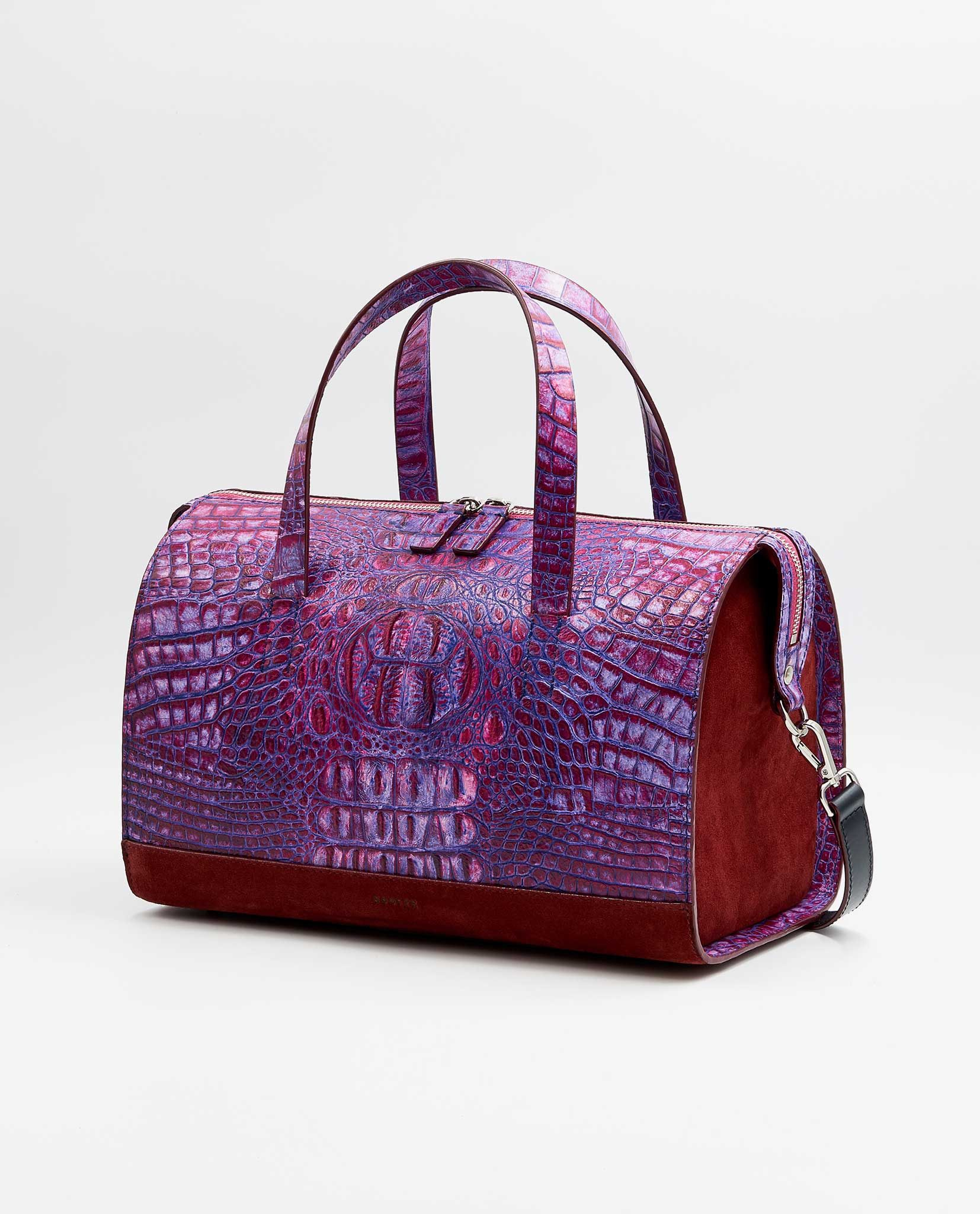 SOOFRE-Berlin-unique-Bowler-Bag-croco-purple-lilac-burgundy-SIDES
