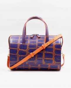 SOOFRE-Berlin-unique-Bowler-Bag-croco-purple-orange-apricot-FRONT