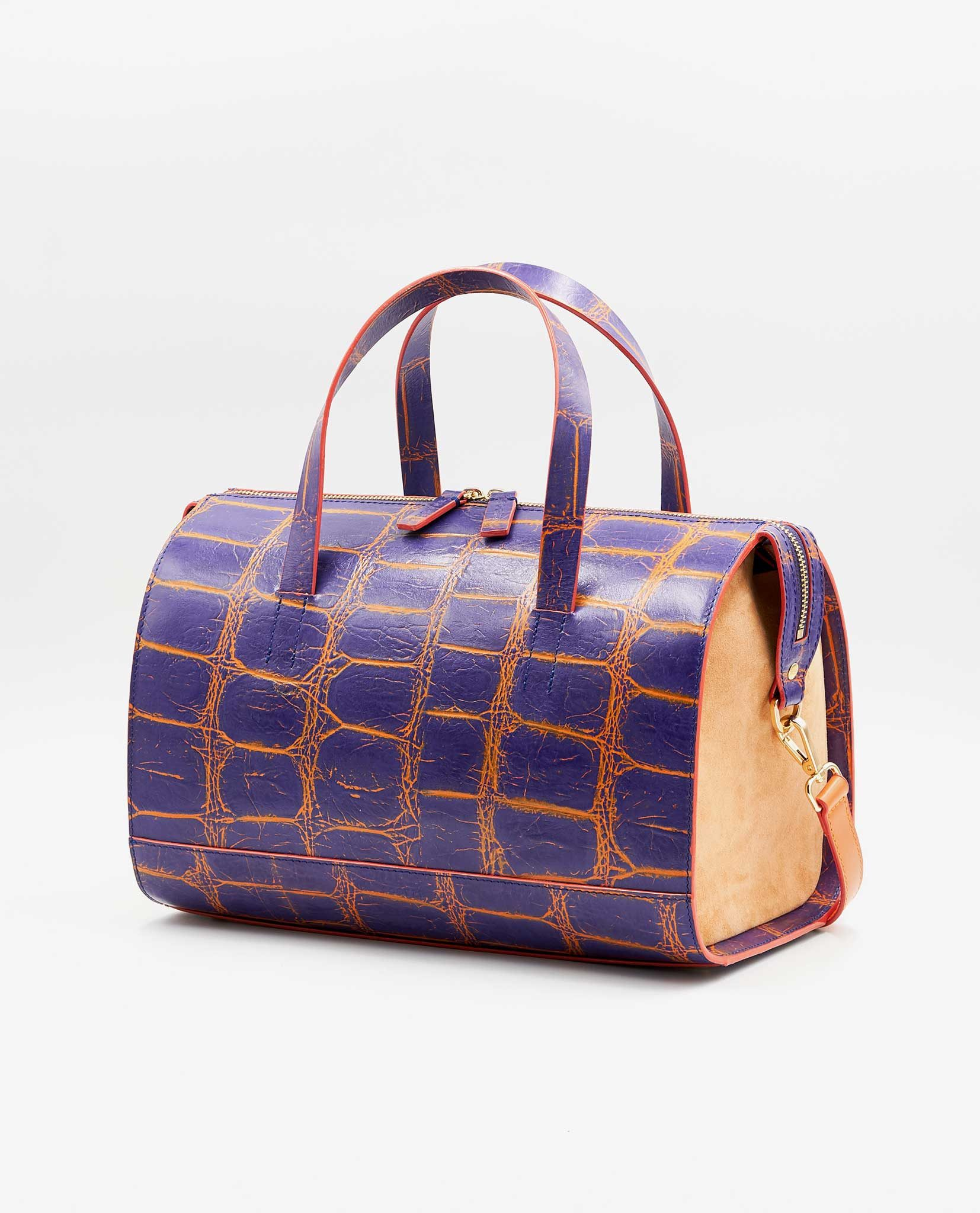 14aa2cf9bede Unique Bowler Bag CHARLIE – Croco Purple Orange   Apricot - SOOFRE