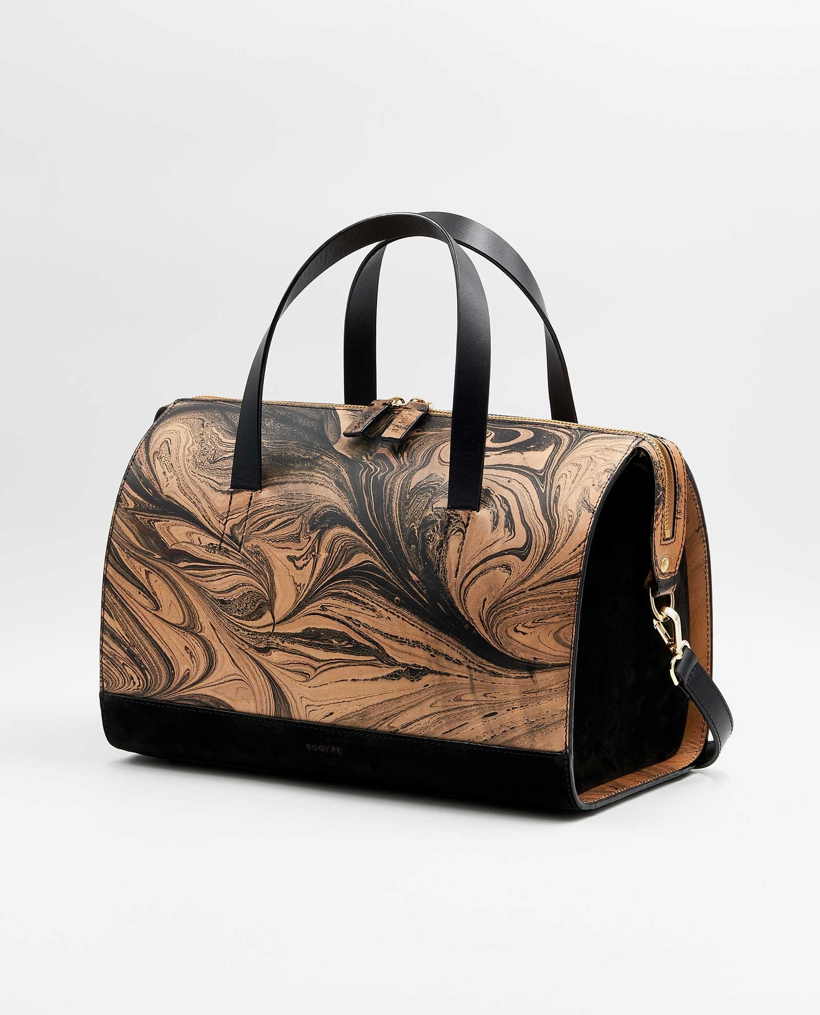 SOOFRE-Berlin-unique-Bowler-Bag-marble-black-black-SIDES