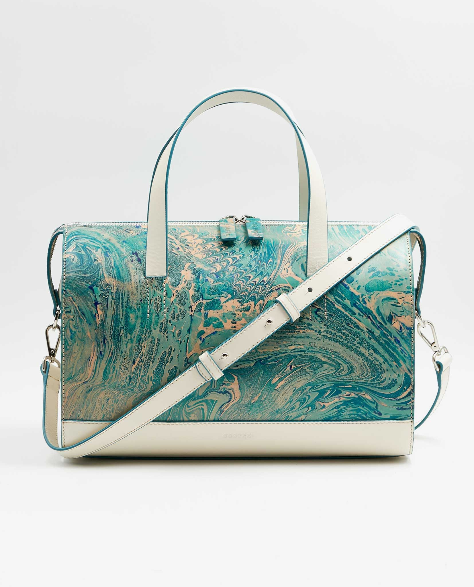 SOOFRE-Berlin-unique-Bowler-Bag-marble-turquoise-ivory-FRONT