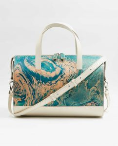 SOOFRE-Berlin-unique-Bowler-Bag-marble-turquoise-ivory-FRONT_2