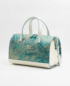 SOOFRE-Berlin-unique-Bowler-Bag-marble-turquoise-ivory-SIDES