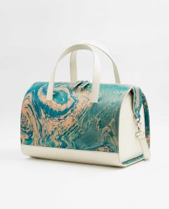SOOFRE-Berlin-unique-Bowler-Bag-marble-turquoise-ivory-SIDES_2