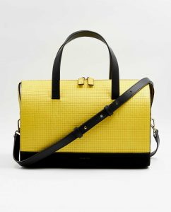 SOOFRE-Berlin-unique-Bowler-Bag-squared-yellow-black-FRONT