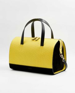 SOOFRE-Berlin-unique-Bowler-Bag-squared-yellow-black-SIDES