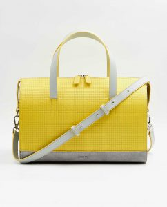 SOOFRE-Berlin-unique-Bowler-Bag-squared-yellow-dove-grey-FRONT