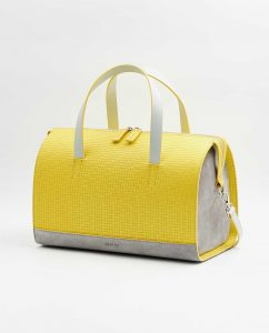 SOOFRE-Berlin-unique-Bowler-Bag-squared-yellow-dove-grey-SIDES