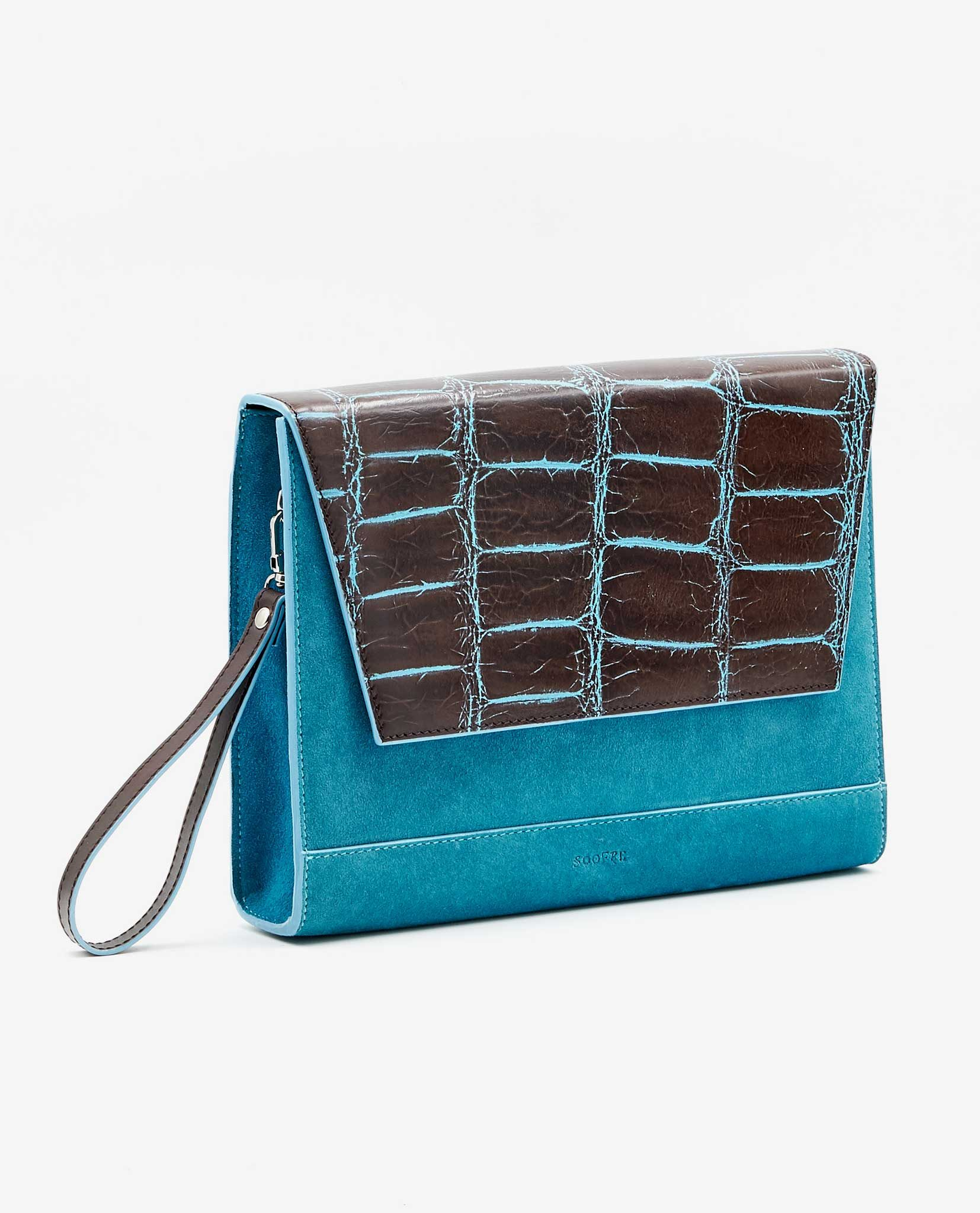 SOOFRE Berlin unique Clutch croco brown sea blue