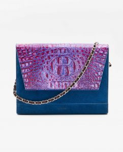SOOFRE-Berlin-unique-Clutch-croco-purple-lilac-sapphire-blue-FRONT