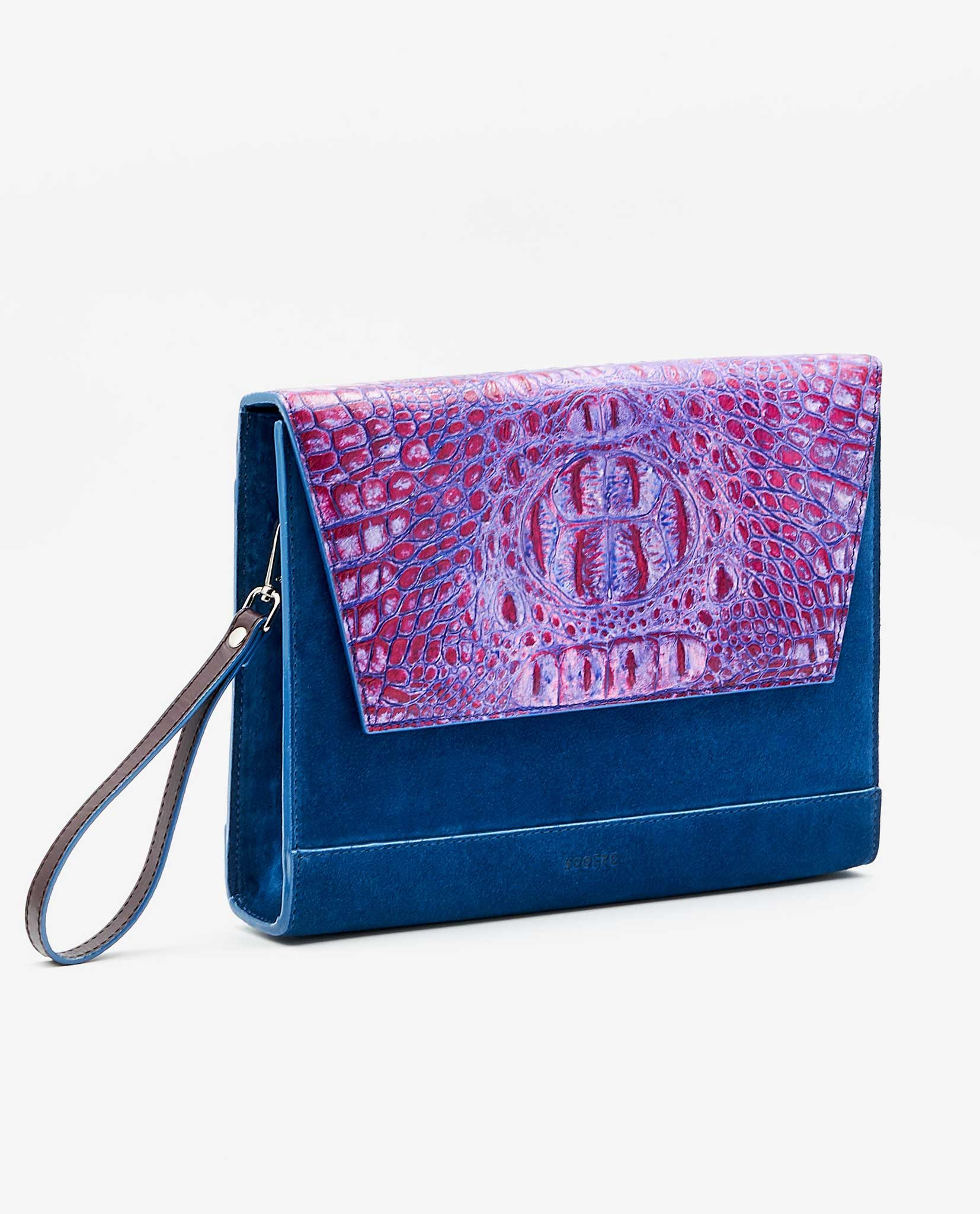 SOOFRE Berlin unique Clutch croco purple lilac sapphire blue