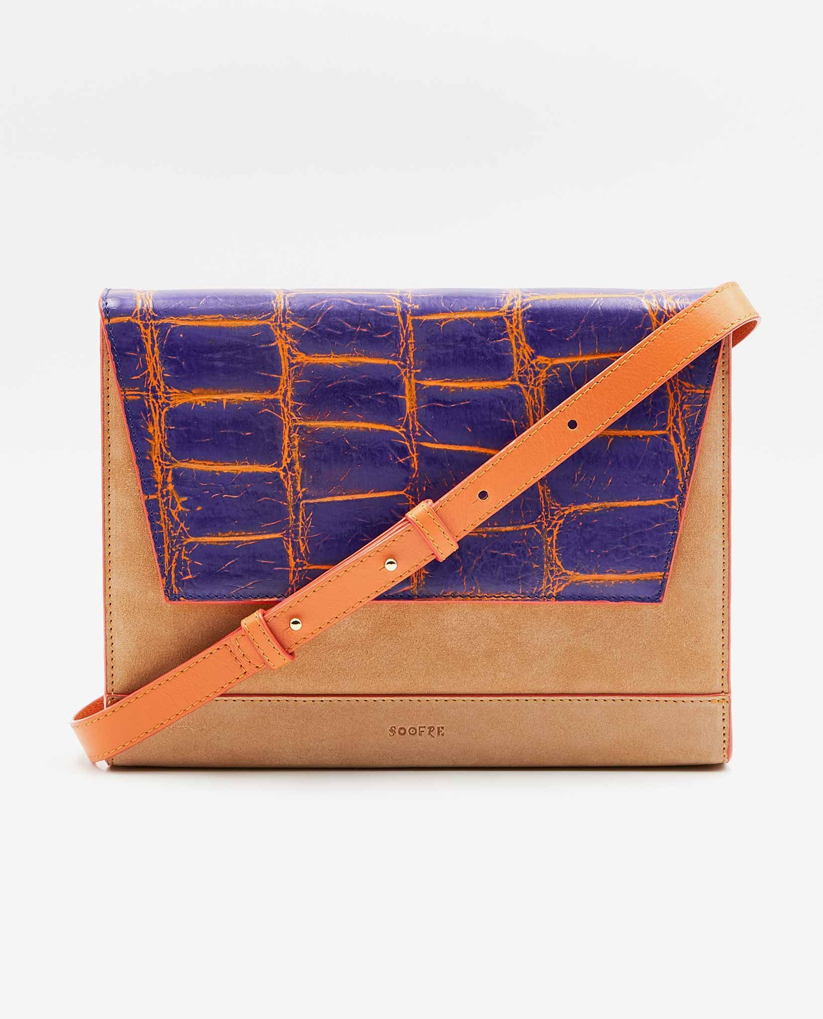 SOOFRE-Berlin-unique-Clutch-croco-purple-orange-apricot-FRONT