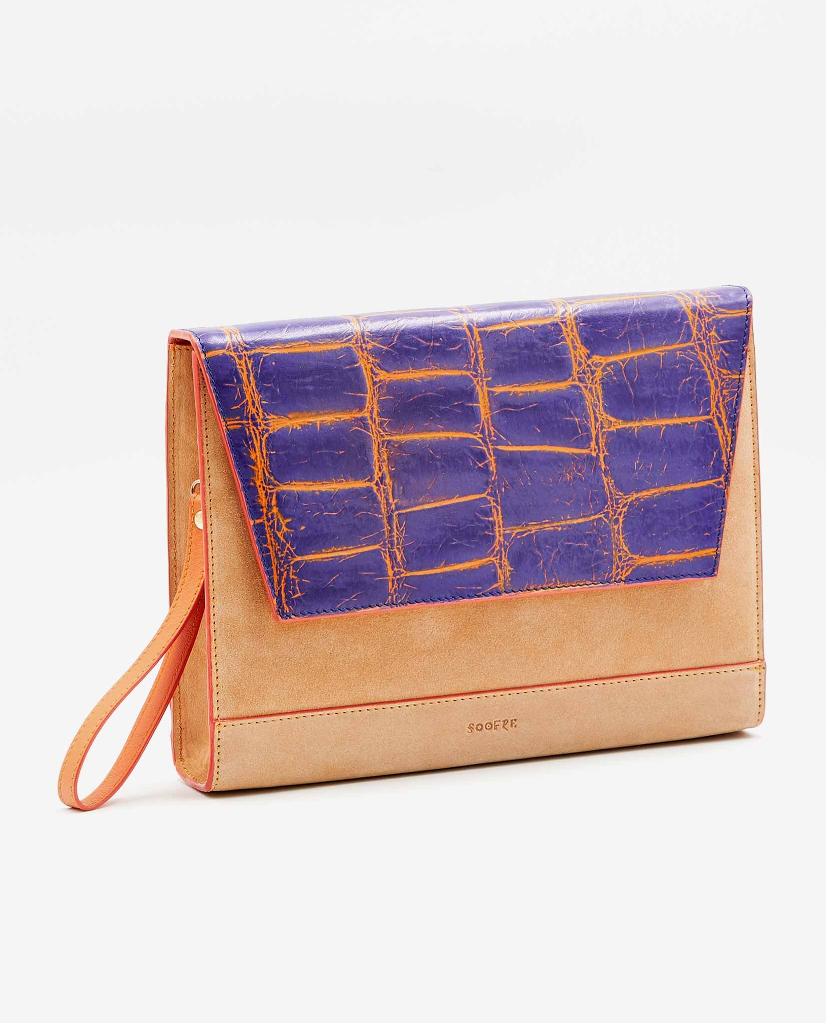 SOOFRE-Berlin-unique-Clutch-croco-purple-orange-apricot-SIDES