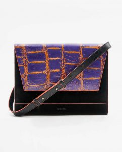 SOOFRE-Berlin-unique-Clutch-croco-purple-orange-black-FRONT
