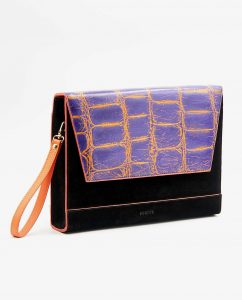 SOOFRE-Berlin-unique-Clutch-croco-purple-orange-black-SIDES