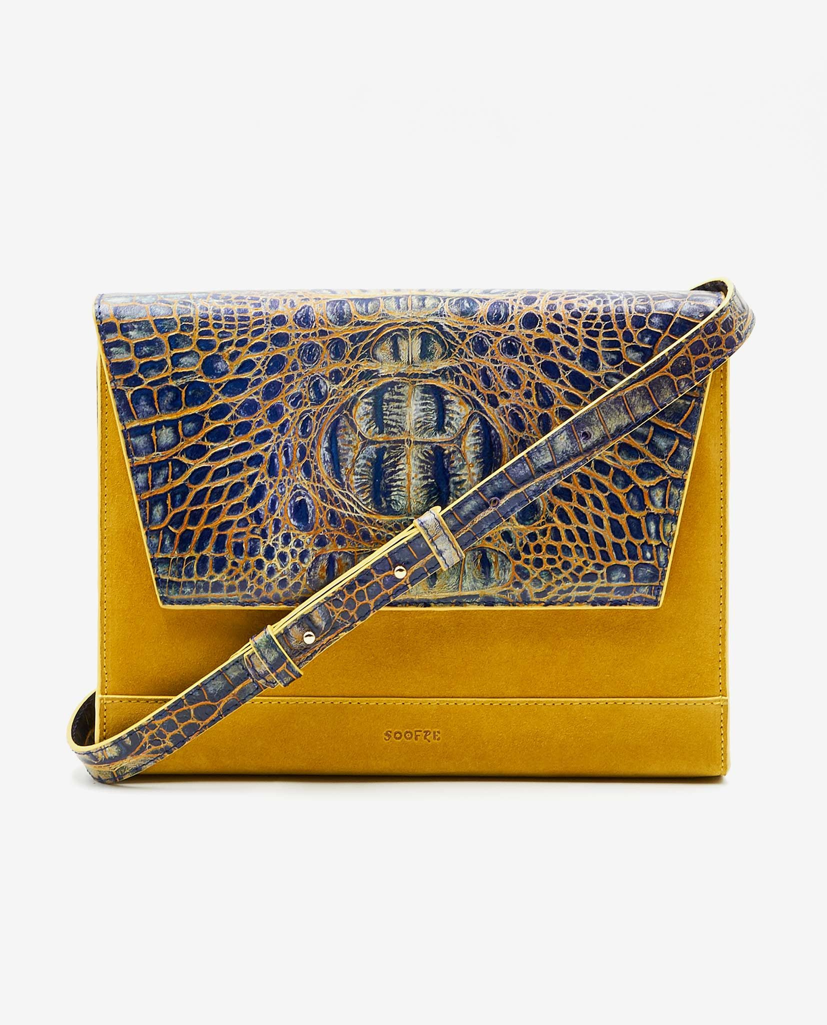 SOOFRE-Berlin-unique-Clutch-croco-yellow-yellow-FRONT2