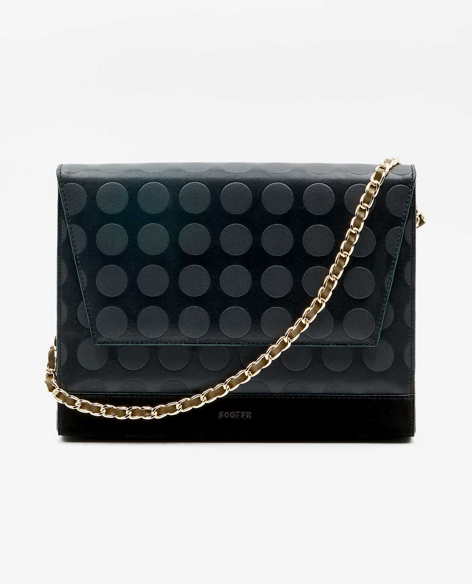 SOOFRE-Berlin-unique-Clutch-dotted-black-khaki-FRONT