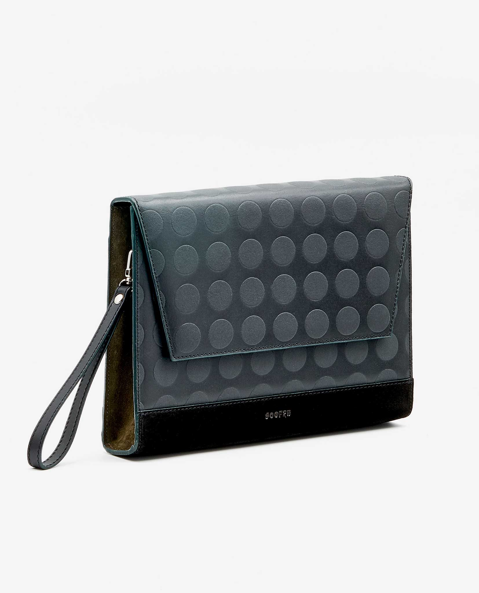 SOOFRE Berlin unique Clutch dotted black khaki