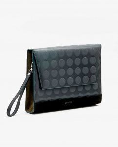 SOOFRE-Berlin-unique-Clutch-dotted-black-khaki-SIDES